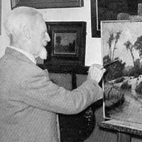Kunstschilder CHris Hammes aan het werk