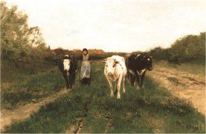 Herderin met Koeien van Anton Mauve