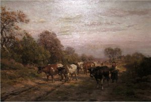 Kudde op landweg van Julius vd Sande Bakhuyzen