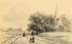 Landweg met enkele figuren van Jan van Ravenswaay