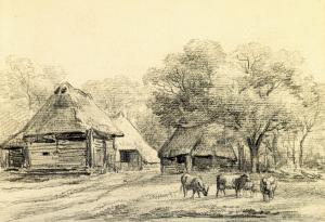 Oud Aalden Drie schuren met rieten daken