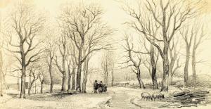 Winterscene in Zweeloo van Jan van Ravenswaay