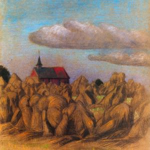 Gezicht op korenveld en kerkje Zweeloo