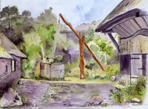 Boerenerf met waterput van Toos Kray