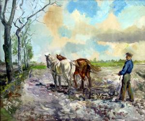 Boer met cultivator van Hein Auke Kray