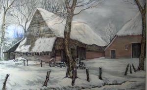 Boerderij in de winter van Berend Hoving