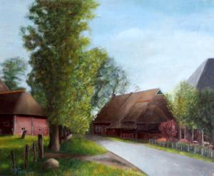Dorpsstraat Wezup van Kunstschilder Kees Thijn