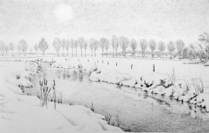 Aelderstroompje in de sneeuw door Kees Verweij