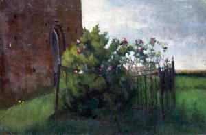 Bloemperk bij kerkje Zweeloo van Marie Cremers
