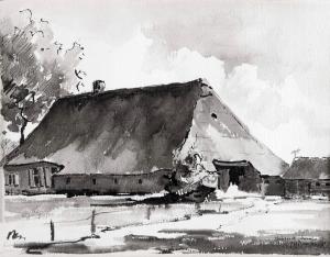 Boerderij aan Klooster in Zweeloo van Piet Bruins